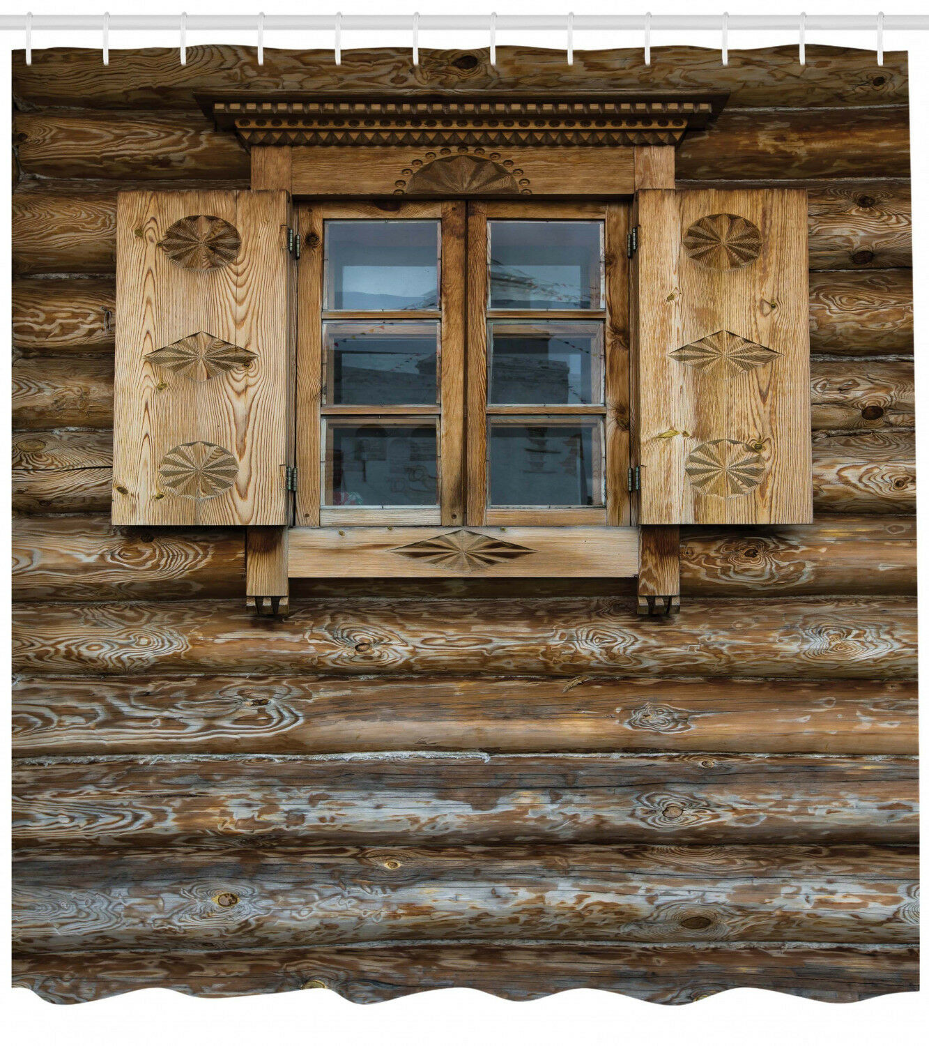 Rustic Shower Curtain Wooden Cottage Shutter Print For Bathroom