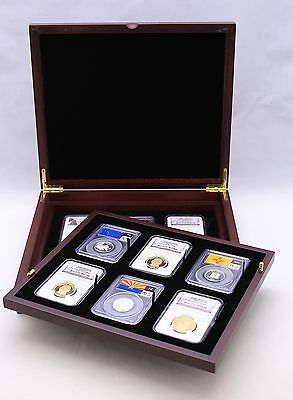Wood Display Box for 12 Certified Coin Slabs from PCGS or NGC - Mahogany Finish