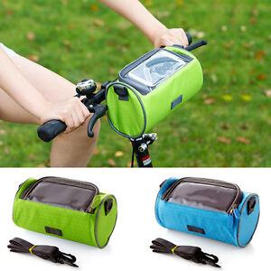 Cycling Bike Bicycle Handlebar Touch Screen Phone Bag Holder Pannier Pouch Case~