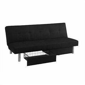Futon Sofa Bed With Storage Bins Black Leather Couch Sleeper Convertible  Lounge