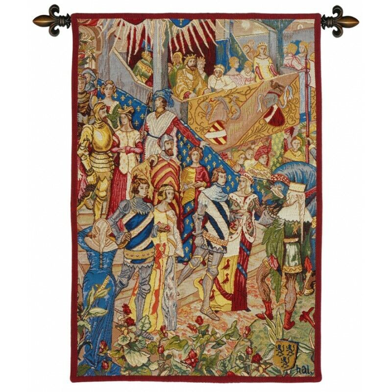 LE DESCENTE AU TOURI FRENCH TAPESTRY WALL HANGING H 26  x W 16