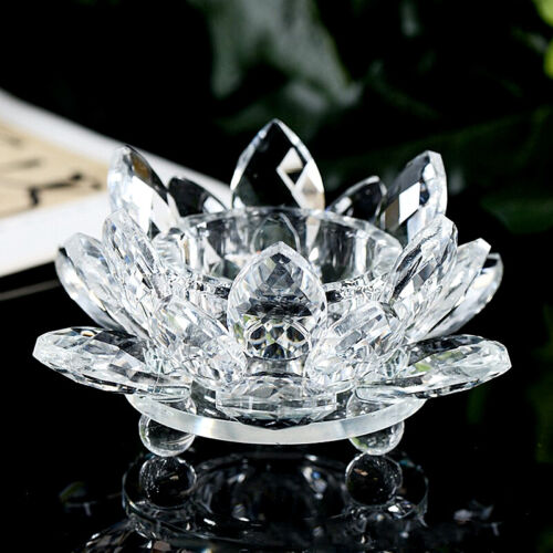 Crystal Glass Lotus Flower Candle Tea Light Holder Round Ball Bottom Ornament