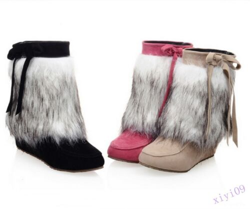 Women/'s Ankle Boots Flat Hidden Heels Fur Trim Round Toe Pull On Bowknot Shoes