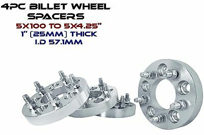 """4 5x100MM TO 5x4.25"""" 25MM 1"""" THICK WHEEL SPACERS CONVERSION ADAPTER MADE IN USA"""