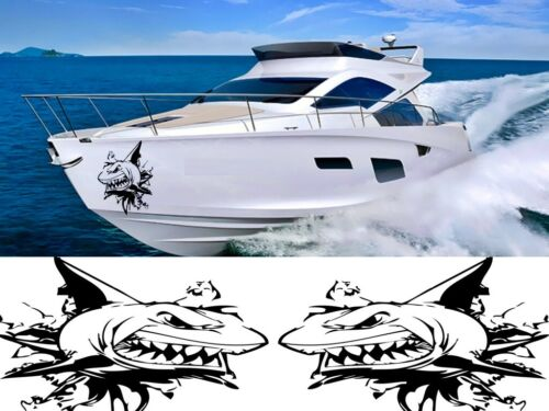NASTY SHARK X 2 BOAT GRAPHICS STICKERS DECALS CUSTOM SPEEDBOAT YACHT MOTORBOAT