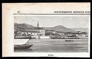 LAGO-MAGGIORE-ARONA-XILOGRAFIA-LE-CENTO-CITTA-039-D-039-ITALIA-1892