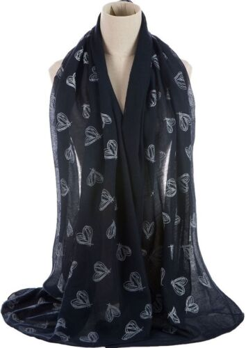 Heart Print Large Celebrity Fashion Scarf Wrap Shawl Maxi Sarong Emb