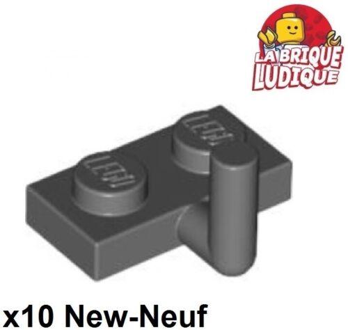 Lego - 10x Plate Modified 1x2 Arm Up 5mm gris foncé/dark bluish gray 88072 NEUF