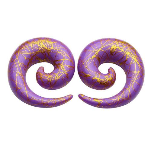 Acrylic Spiral Snail Ear Expander Stretcher Ear Plug Tunnel Purple 1.6mm20mm