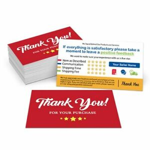500 Custom Printed Full Color Ebay Etsy Seller Id Thank You Cards W Your User Id Ebay