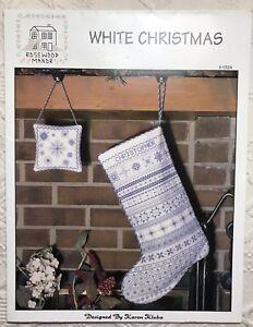 Rosewood-Manor-White-Christmas-Cross-Stitch-Pattern-Stocking-Ornament-Chart-EUC