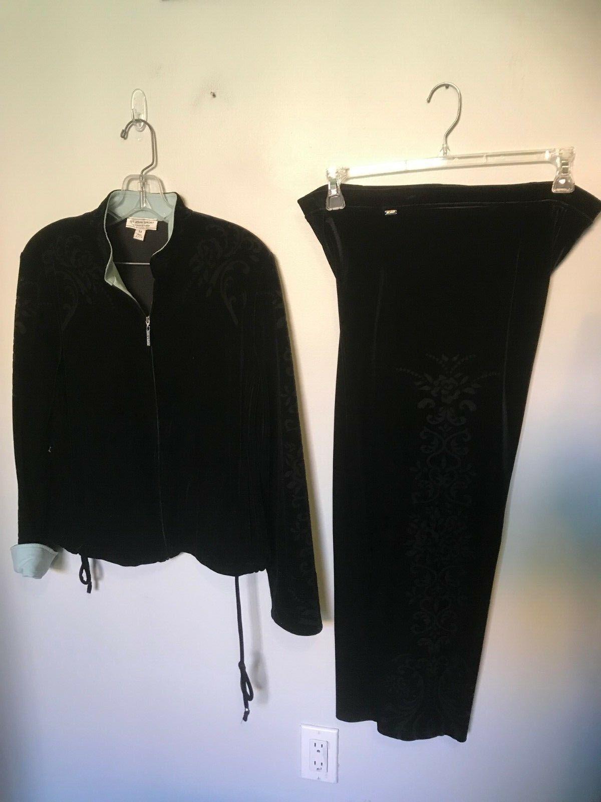 St John Terciopelo Negro queme Rastrear Suit-Talla S M   compras online de deportes