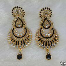 Gold Plated Kundan Style Zerconic Bollywood Earrings Designer Jhumka Style