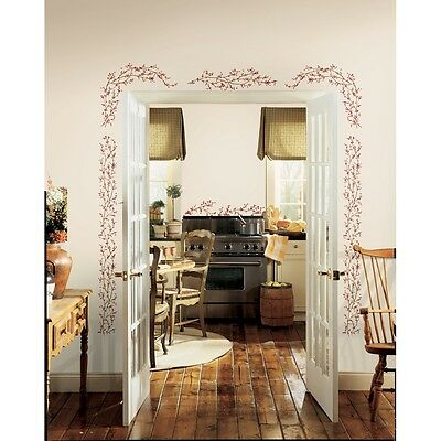 BERRY VINES Mural Wall Decals Country Berries Stickers NEW Kitchen & Home Decor