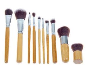 BAMBOO-10pc-Eco-Friendly-Cruelty-Free-Cosmetic-KABUKI-Make-Up-Brush-Set-Pouch-UK