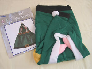 Elf Kids Christmas Poncho Fancy School Nativity Play Costume