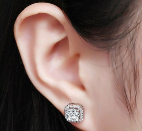 8mm Bling Sterling Silver Square Cubic Zirconia Ear Stud Earrings Gift Box S1