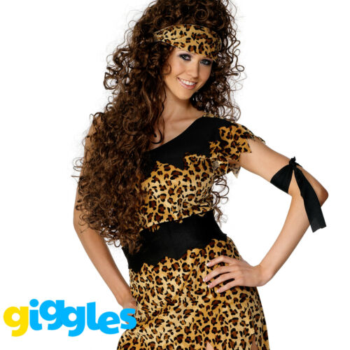 Cavewoman Costume Womens Ladies Cave Girl Leopard Print Tunic Fancy Dress Outfit