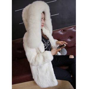 Fox Fur Collar Gifts Vulpes Overcoat Pelt Hooded Coat Full Rabbit Women Real qXw7xT