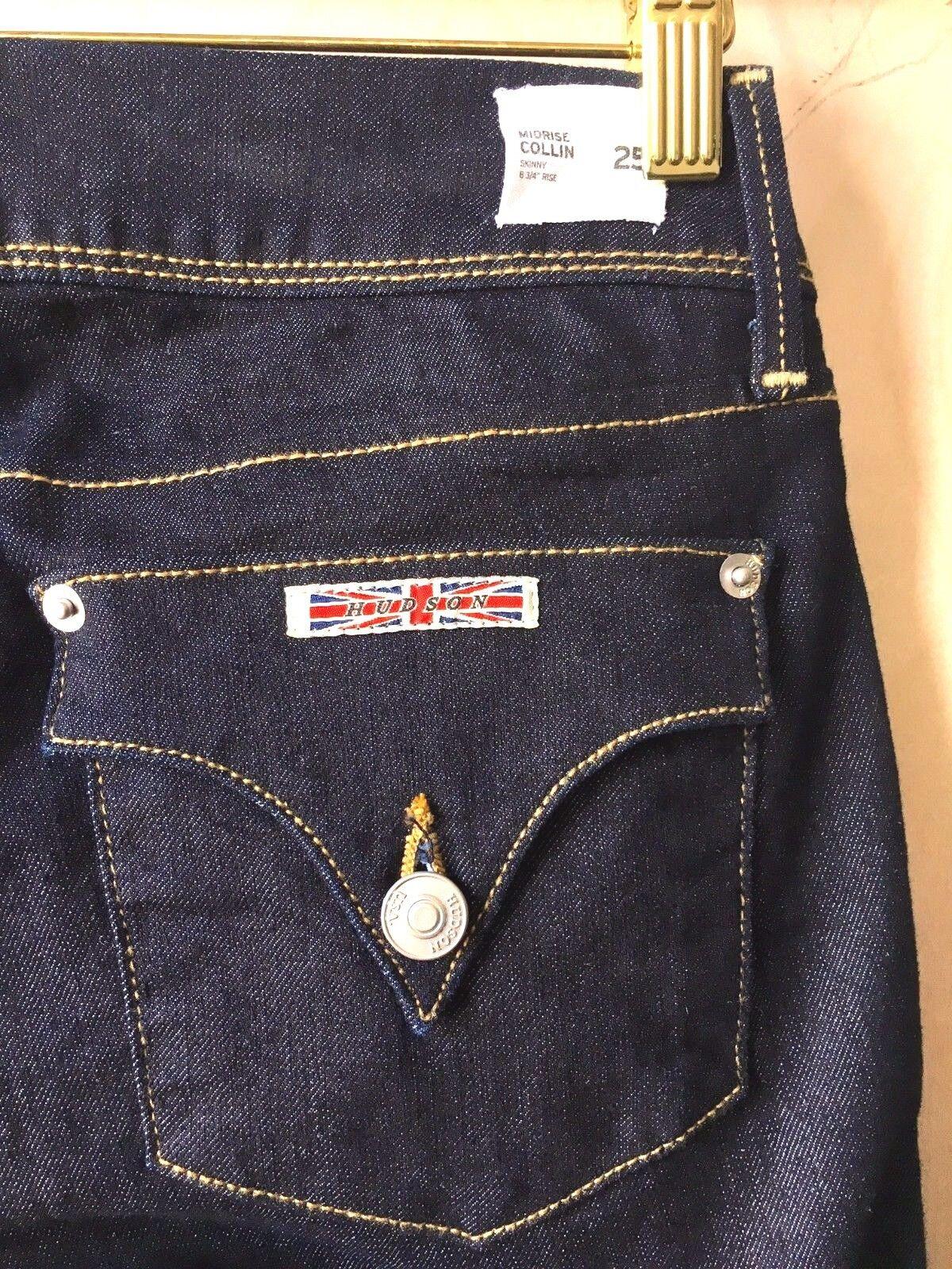 Hudson Collin Skinny, Taille Moyenne Jean, Bleu Foncé, Épais Ceinture Élastique,