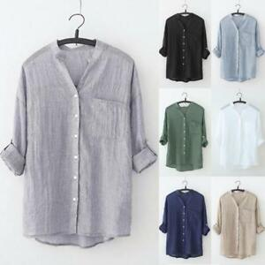 Women-Stand-Collar-Solid-Long-Sleeve-Shirt-Casual-Blouse-Button-Down-T-Shirt-Top