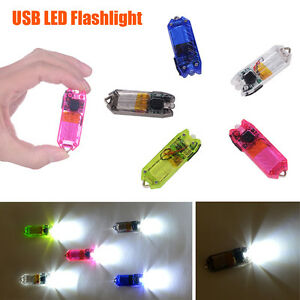 Flashlight USB Torch LED Light Key Chain Rechargeable Polycarbonate 45Lm Camping