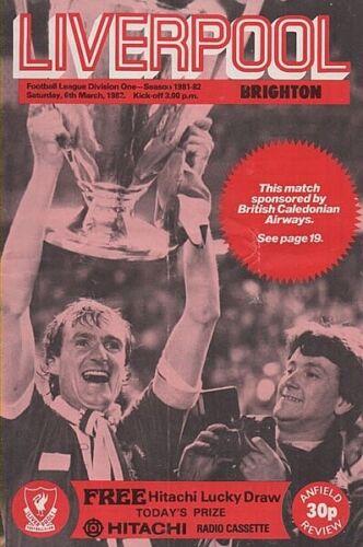 Liverpool Vs Brighton saison 81//82 football programme