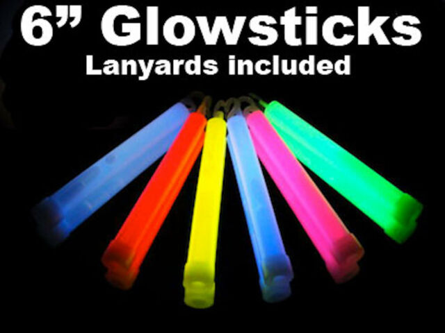 "6"" Bright Thick Glow Sticks - Coloured Glowsticks - Parties, Events, Festivals"