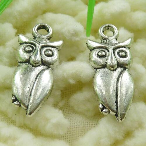 Free Ship 240 pcs tibetan silver owl charms 21x9mm #1749
