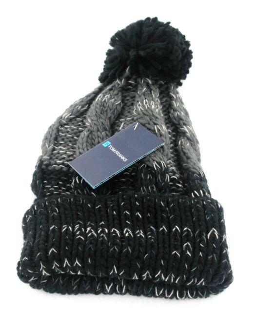 fec55b8c67d Mens Tom Franks Chunky Cable Knit Bobble Beanie Hat Gl383 Black grey ...