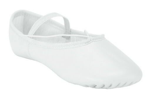 White Ballet Dance Leather Shoes Full Sole Children's and Adult's Sizes