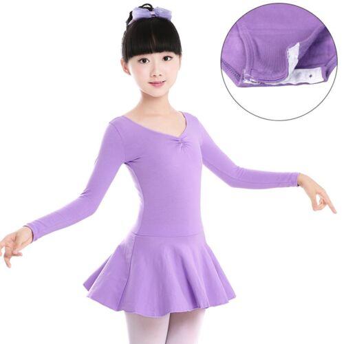 Girls Kids Long Sleeve Gymnastics Leotard Ballet Dress Tutu Skirt Dance Costumes
