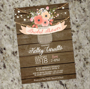 e987e86b53d Image is loading Rustic-Bridal-Shower-Invitation-Mason-Jar-Barnwood-Rustic-