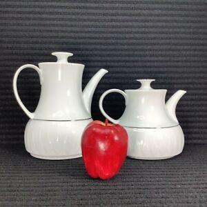Thomas Rosenthal PLATINUM BAND Tea & Coffee Servers White Porcelain Lanzette