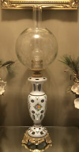 Bohemian-Hand-Painted-Cased-Cut-to-Clear-Glass-Lamp-GWTW-Etched-Globe-amp-Chimney