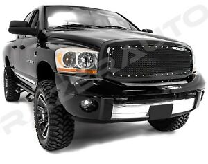 Front-Hood-Rivet-Black-Mesh-Grille-Grill-W-Shell-for-06-08-Dodge-RAM-1500-2500