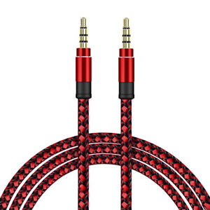 SDTEK-Extra-Long-3-Metres-Red-Braided-Aux-Audio-Cable-Jack-Stereo-3m-3-5mm-Cable