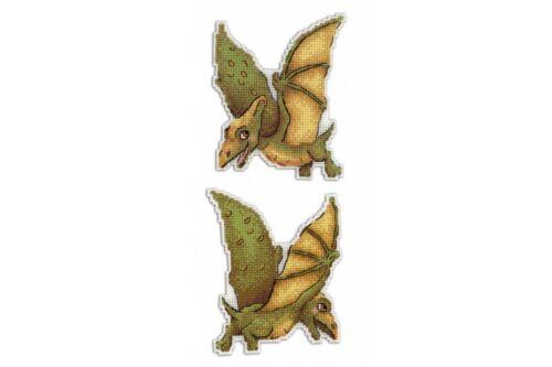 Cross Stitch Kit Dinosaurs Pterodactyl R-300 on plastic canvas