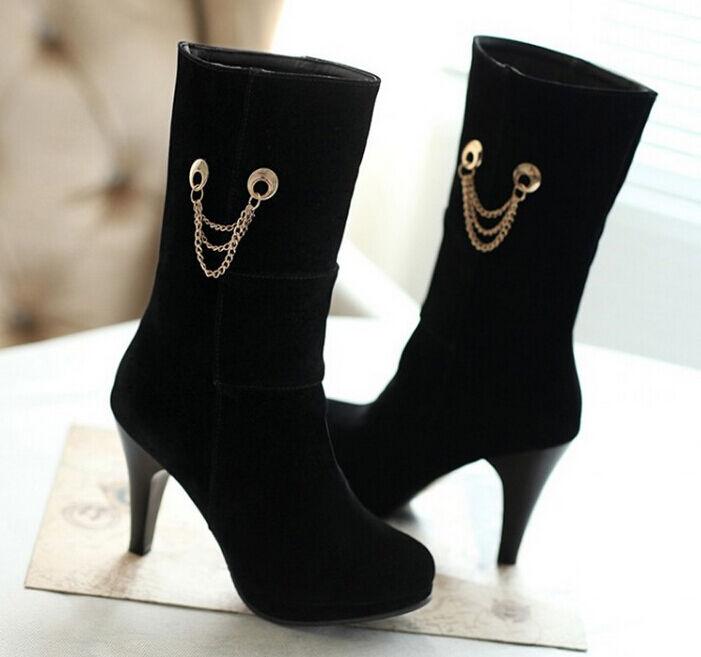 Stiefeletten stiefel frau absatz 10.5 cm schwarz heiß komfortabel simil leder