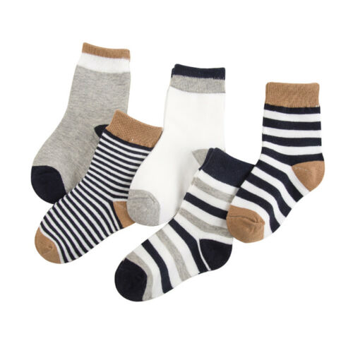 5 Pairs Baby Cotton Ankle Socks Lot Striped Boys Girls Infant Toddler Kids 0-6Y