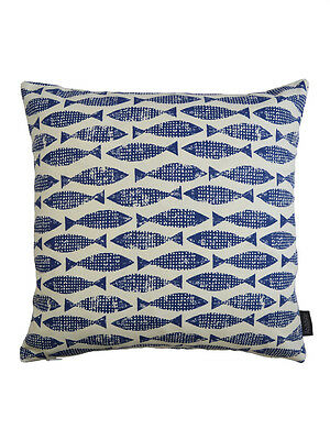 Scion Vintage/Retro 50s 60s Fish fabric Cushion Cover- Samaki Ink Blue