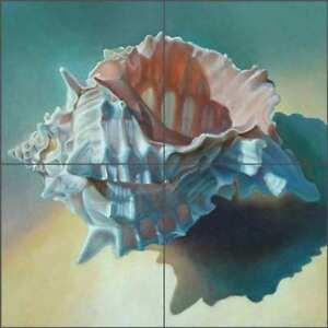 Conch-Shell-Tile-Backsplash-Macon-Sea-Life-Art-Ceramic-Mural-LMA040