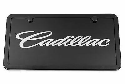 Brushed Cadillac Vanity License Plate Black Script