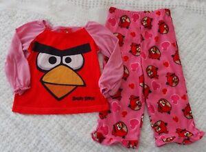 Angry-Birds-2-2T-Girls-Pajamas-PJ-winter-pink-red-hearts
