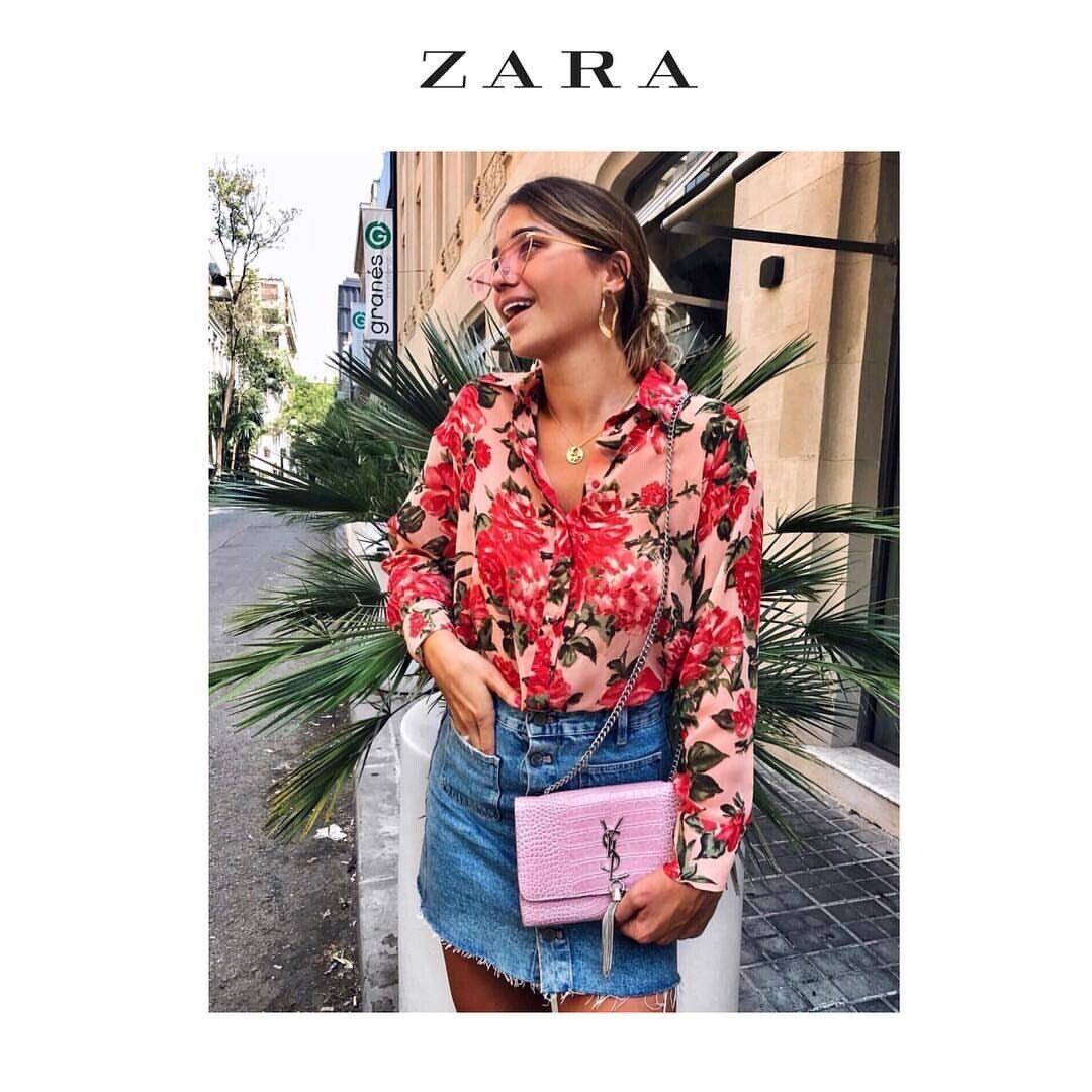 Zara SS19 Frau Printed Floral oben Multicolourot 7828 110 Größe M NWT