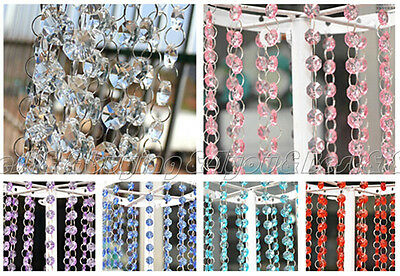33FT 10M Wedding DIY Crystal Clear Acrylic Bead Garland Hanging Party Decor HOT