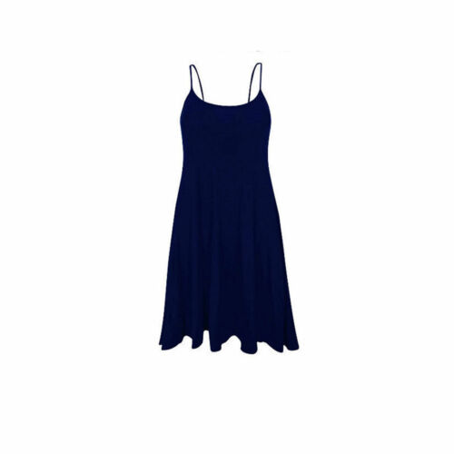 Ladies Long Camisole Cami Plain Strappy Swing Vest Top Flared Sleeveless  Dress