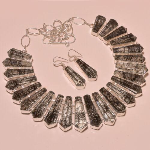 "Black Rutile Facette Handmade Gemstone Fashion Jewelry Collier 18/"" RD-5151520"