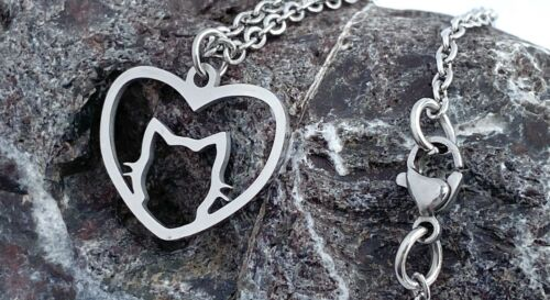 Submissive Day Collar Cat Heart Necklace Stainless Steel Kitty Collar BDSM
