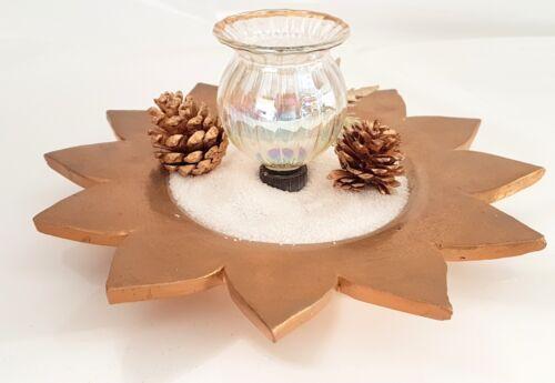 Teelichthalter mit Goldrand zum stecken klar Glas Ø 6,5  cm Glasdorn 1,5 cm